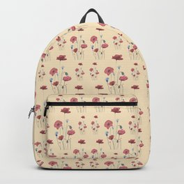 Red & Blue Poppies pattern Backpack