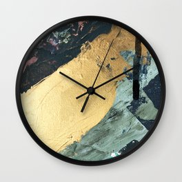 Supernova: an abstract mixed media piece in gold with blues, greens, and a hint of pink Wall Clock