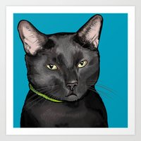 Black Cat Portrait Art Print
