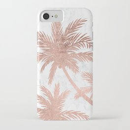 Tropical simple rose gold palm trees white marble iPhone Case