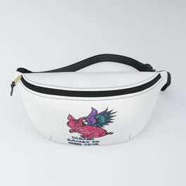 Pig with Wings Dreams Really Do come True Retro Fabric Collage Pig Lovers Gift Fanny Pack