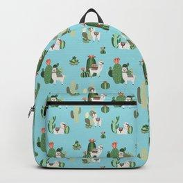 Llamas and Cactus Blue Backpack