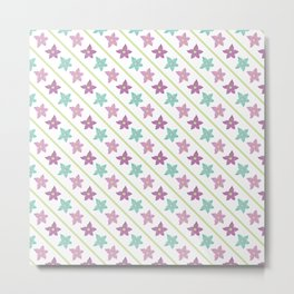 Purple and teal flowers on a white background Metal Print