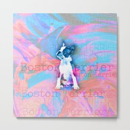 Boston Terrier Watercolor Digital Art Metal Print