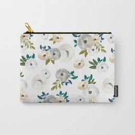 Sweet Blooms - Blue & Cream Carry-All Pouch