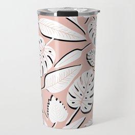 Monstera white & pink Travel Mug