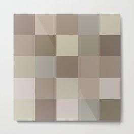 Brown shades geometric squares Metal Print