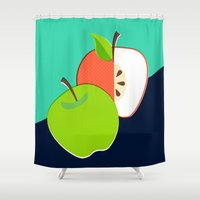 apple Shower Curtains featuring Apple by Sam Osborne
