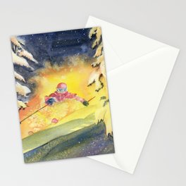 Skiing Art Stationery Cards
