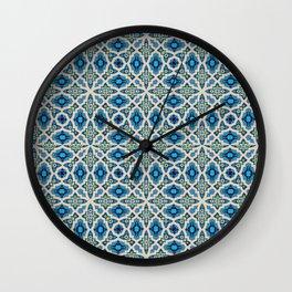 Boho Moroccan Tiles in blue Wall Clock