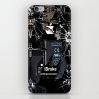 iPhone & iPod Skins featuring Broken, rupture, damaged, cracked black apple iPhone 4 5 5s 5c, ipad, pillow case and tshirt by Three Second