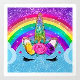 Rainbow Sparkle Unicorn Art Print