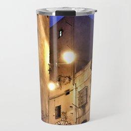 Narrow road at night with graffiti Travel Mug