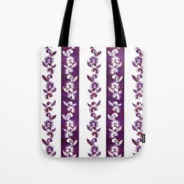 Striped in plumful florals Tote Bag