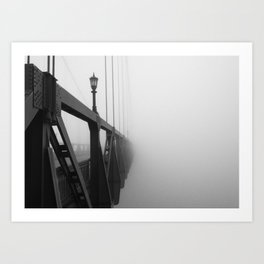 St Johns Bridge in Fog 3, Portland, Oregon Art Print