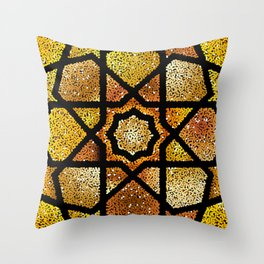Gold shiny glitter arabesque  Throw Pillow
