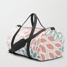 Festive, Floral Prints, Teal, Peach, Coral, Abstract Art, Colour Prints Duffle Bag