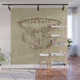 Steer Skull Bird Nest Feathers Roses Moons Mandala Brown Tan Wall Mural