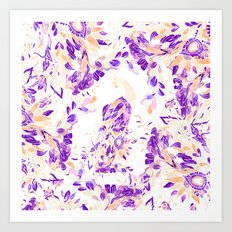 Floral purple orange watercolor peacock pattern illustration Art Print