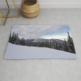 Mountains behind the trees Rug