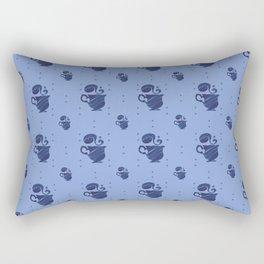 Herbal Tea, Blue on Blue Pattern Rectangular Pillow