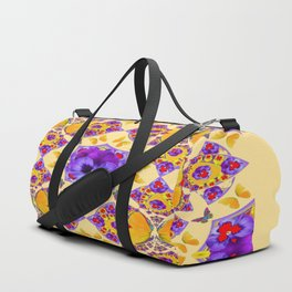 PURPLE PANSIES & GOLD  BUTTERFLIES KALEIDOSCOPE CREAM Duffle Bag