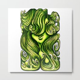 Luscious Locks - Lime Punch Metal Print