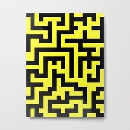 Black and Electric Yellow Labyrinth Metal Print