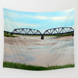 Low Tide at the Sackville Train Bridge Wall Tapestry