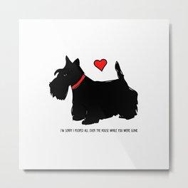 Scottish Terrier Dog-I'm Sorry (red heart) Metal Print