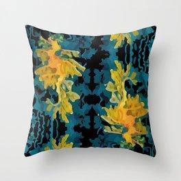 Abstract seadragons on black Throw Pillow