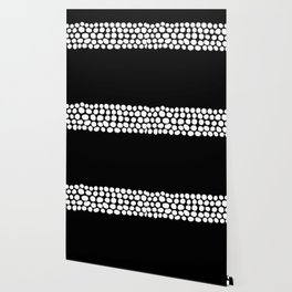 Soft White Pearls on Black Wallpaper