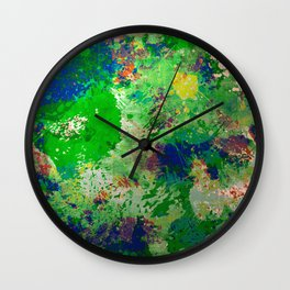 Spring Time Splatter - Abstract blue and green platter painting Wall Clock