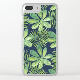 Tropical Branches Pattern on Dark 01 Clear iPhone Case