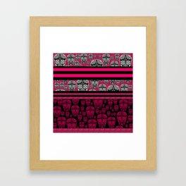 Pink Sugar Skulls And Stripes Framed Art Print