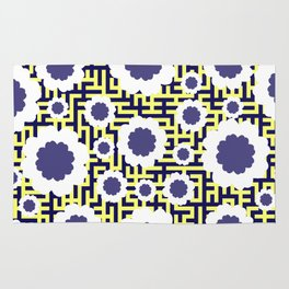Floral maze in yellow and blue Rug