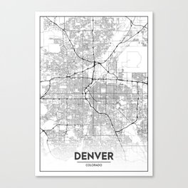 Minimal City Maps - Map Of Denver, Colorado, United States Canvas Print