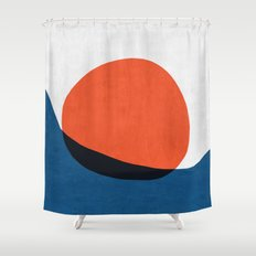 Blue and red modern art IV Shower Curtain