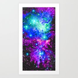 Fox Fur Nebula Galaxy Pink Purple Blue Art Print