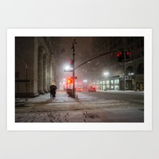 New York City Snow Romance Art Print