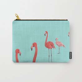 Flamingo Party in Aqua - flock of mingling flamingoes Carry-All Pouch
