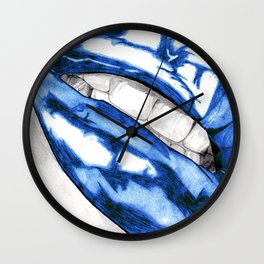 Hot Lips Blue Wall Clock