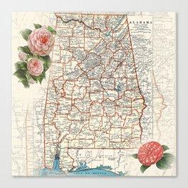 Alabama map with Camelias Canvas Print