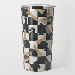 Chess Figures Pattern -Leather and gold Travel Mug