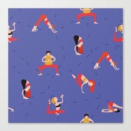 Yoga Girls blue lines Canvas Print