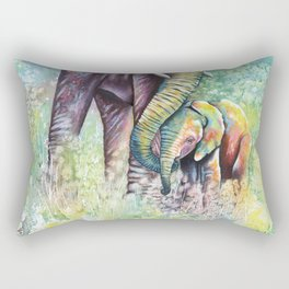 Colorful Mother Elephant and Baby Rectangular Pillow