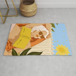 I love to travel but when I really want to escape, I read a book #painting #illustration Rug