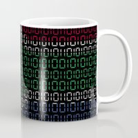 south africa Mugs featuring digital Flag (South Africa) by seb mcnulty