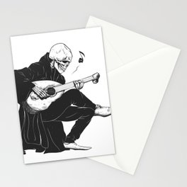 Minstrel playing guitar,grim reaper musician cartoon,gothic skull,medieval skeleton,death poet illus Stationery Cards