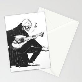 Minstrel playing guitar,grim reaper musician cartoon,gothic skull,medieval skeleton,death poet illus Stationery Cards